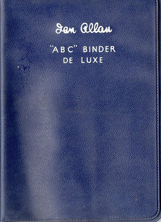 Ian Allan ABC Binder de Luxe, plastic, in ER dark blue, circa early to late 1950's. The earlier binders were more coarsely grained.