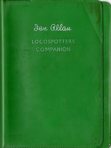 ABC Locomotive Series book holder in green plastic, with no pencil holder, c.1949-50 (?). With 'Ian Allan Locospotters Companion' near the top. No logo.