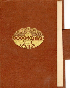 BC Locomotive Series book holder in brown, with logo in central position, with pencil holder, c.1947-48. Hardback, cloth covered.