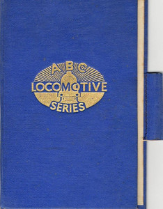 ABC Locomotive Series book holder in blue, with logo in central position, in blue, with pencil holder, c.1947-48. Hardback, cloth covered.