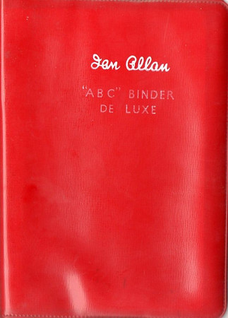 Ian Allan ABC Binder de Luxe, plastic, in LMR red (note lower text), c.1958 onwards. Later binders had a smoother finish than earlier batches.