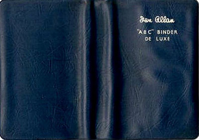Ian Allan ABC Binder de Luxe, plastic, in ER dark blue, c.1958 onwards. Later binders had a smoother finish than earlier batches; this example has a very grainy appearance, and is seen in the open position.