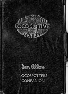 ABC Locomotive Series book holder in black, with pencil holder, c.1947-48. Hardback, cloth covered. Now with 'Ian Allan Locospotters Companion' beneath the (raised) logo on the front.