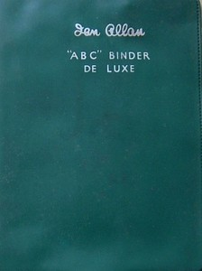 Ian Allan ABC Binder de Luxe, plastic, in blue-green, c.1958 onwards. Binders were usually produced in the colour one of the six regions, blue-green is rather a mystery. Later binders had a smoother finish than earlier batches.