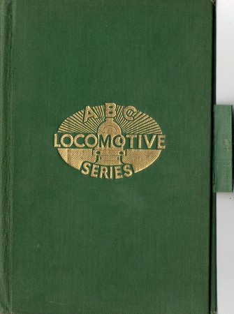 ABC Locomotive Series book holder in dark green, with logo in central position, with pencil holder, c.1947-48. Hardback, cloth covered.
