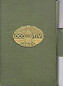 ABC Locomotive Series book holder in lighter green, with logo in central position, with pencil holder, c.1947-48. Hardback, cloth covered.