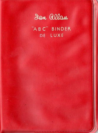 Ian Allan ABC Binder de Luxe, plastic, in LMR red, c.1958 onwards. Later binders had a smoother finish than earlier batches.
