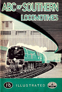 "1947 11th edtn - Southern Locomotives, published July 1947, 49pp 1/6, no code. Again, no electrics in this edition. Cover drawing, now credited to A N Wolstenholme, depicts Bulleid 'West Country' Class Pacific 21C103 ""Plymouth""."