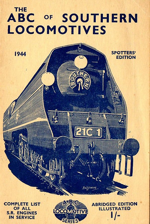 "1944 Southern Locomotives Spotters Edition, published April 1944, 33pp 1/-, no code. The abridged Spotters Edition was produced in a variety of colours; this is the cream example. Cover drawing by Baldwin of Bulleid SR 'Merchant Navy' Class Pacific 21C1 ""Channel Packet"", the same image as was used on the SR 5th edition."