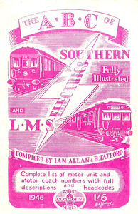 1946 Southern (5th edition) & LMS (2nd edition) Electrics, compiled by Ian Allan & Barrington Tatford, published January 1946, 33pp 1/6, no code. Cover drawing by Baldwin, same as the previous edition, depicting SR 5-BEL unit 3051 & a Merseyside unit; this edition was also possibly printed with a lilac cover, but no image has yet come to hand; once again, the difference in colour may just be a result of fading.