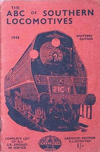 "1944 Southern Locomotives Spotters Edition, published April 1944, 33pp 1/-, no code. The abridged Spotters Edition was produced in a variety of colours; this is the pink example. Cover drawing by Baldwin of Bulleid SR 'Merchant Navy' Class Pacific 21C1 ""Channel Packet"", the same image as was used on the SR 5th edition."