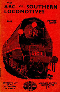"1944 Southern Locomotives Spotters Edition, published April 1944, 33pp 1/-, no code. The abridged Spotters Edition was produced in a variety of colours; this is the red example. Cover drawing by Baldwin of Bulleid SR 'Merchant Navy' Class Pacific 21C1 ""Channel Packet"", the same image as was used on the SR 5th edition."