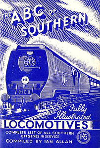 "1946 8th edtn - Southern Locomotives 7th edition (2nd) second, published July 1946, 48pp 1/6, no code. This is quite confusing, as it is the THIRD version of the 7th edition, the previous two appearing in June and November 1945, with the same Baldwin drawing of 'Merchant Navy' Class Pacific 21C8 ""Orient Line"", except this time printed in blue instead of green. See the following photo to compare different shades of blue on the same edition."