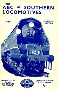 "1944 Southern Locomotives Spotters Edition, published April 1944, 33pp 1/-, no code. The abridged Spotters Edition was produced in a variety of colours; this is the white example. Cover drawing by Baldwin of Bulleid SR 'Merchant Navy' Class Pacific 21C1 ""Channel Packet"", the same image as was used on the SR 5th edition."