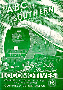 "1945 7th edtn (2nd) - Southern Locomotives 7th edition (2nd), published November 1945, 48pp 1/6, no code. Cover drawing by Baldwin of Bulleid SR 'Merchant Navy' Class Pacific 21C8 ""Orient Line""; same image as on the 7th edition (1st). NOTE: the exact shades of green on both 7th editions, although different, is not to be taken too seriously, as different shades could occur on the same editions, and was not uniformly applied."