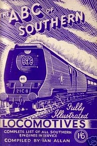 "1946 8th edtn - Southern Locomotives 7th edition (2nd) second, published July 1946, 48pp 1/6, no code. This is quite confusing, as it is the THIRD version of the 7th edition, the previous two appearing in June and November 1945, with the same Baldwin drawing of 'Merchant Navy' Class Pacific 21C8 ""Orient Line"", except this time printed in blue instead of green. This second example has been included merely to give some idea of how much the print colour can vary."