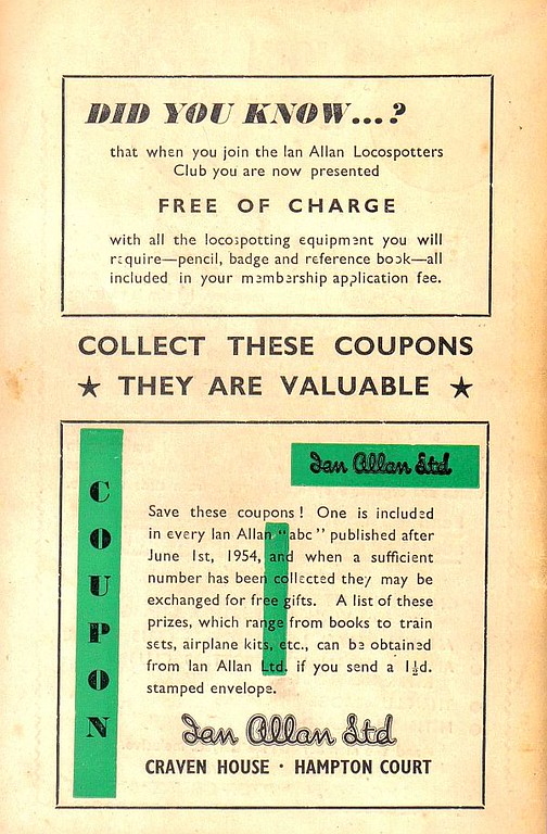 1954 advert for the Ian Allan Locospotters Club + discount coupon, June 1954.