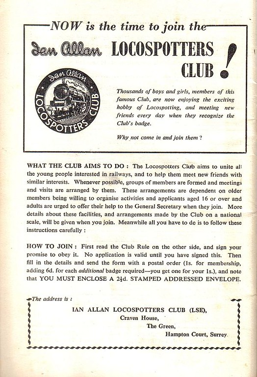 1955 advert for the Ian Allan Locospotters Club, February 1955.