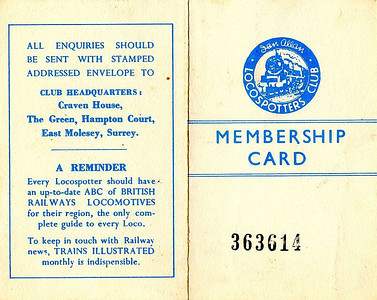 Ian Allan Locospotters Club membership card No.363614, from about 1955 (front & back). Apparently white was not a commonly used colour for membership cards.