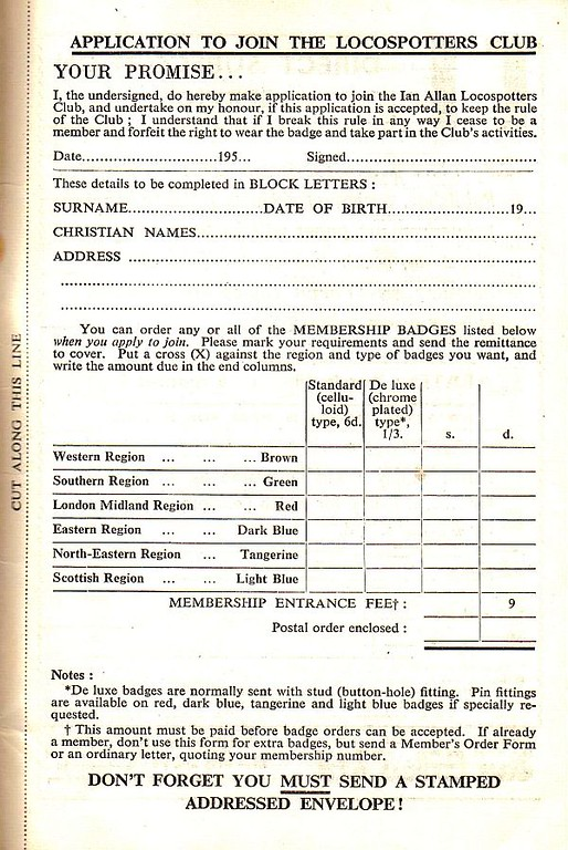 1953 (Winter) application form for the Ian Allan Locospotters Club.
