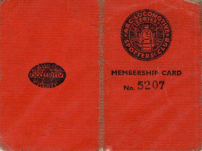 Ian Allan Locospotters Club membership card No.5207, from 1945 (front & back).