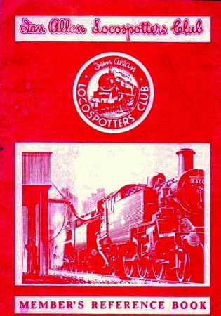 1959-mid 60s Ian Allan Locospotters Club Reference Book in LMR red, number of pages now reduced back to 16. Cover drawing by A N Wolstenholme of a BR Standard Class 3MT 84xxx 2-6-2T.