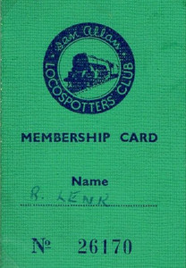 Ian Allan Locospotters Club membership card No.26170, from January 1949; despite the above scan's appearance, this card is much smaller than those produced before 1948.