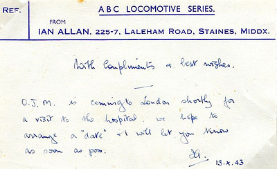 Memo from Ian Allan himself, via Mollie Franklin (later Mrs Ian Allan) dated October 1943, concerning a future meeting with O J Morris concerning the formation of the Ian Allan Locospotters Club.