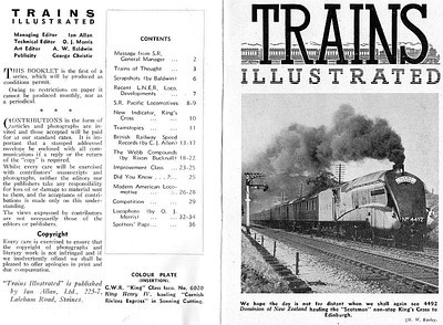 Trains Illustrated No.1, inside front cover and first page, January 1946, 36pp 1/-.