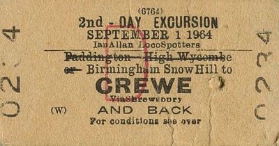 1964 2nd class Day Excursion ticket for an Ian Allan Locospotters  Special, Birmingham Snow Hill to Crewe (via Shrewsbury), 1st September 1964. No doubt a visit to Crewe Works and/or engine sheds was involved...