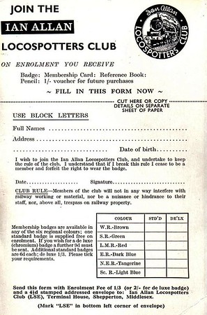 1965 application form for the Ian Allan Locospotters Club, April 1965. This identical advert was still used in 1967.