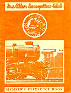 1950-58 Ian Allan Locospotters Club Reference Book in NER tangerine, containing 16pp until 1955, when the number of pages increased to 32. Cover drawing by A N Wolstenholme of an LM Ivatt 43xxx 2-6-0.