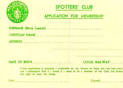 Original Ian Allan Locospotters Club membership application form, probably from around 1945.