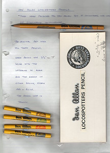 "Ian Allan Locospotters Club Pencils; these were produced in two sizes - three and a half inches, and seven inches. Yellow, with black text 'Ian Allan' and 'Locospotters Pencil', and (on the 7"" pencils) a black steam locomotive; the circular club badge with loco was either GWR brown, SR green, LMS red, or ER blue."