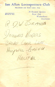Address written on headed notepaper of a local branch of the Ian Allan Locospotters Club (Manchester & South Lancs Area) branch secretary, Bryant A Hill. Following the success of the ABCs, trainspotting had become very popular with boys, and large numbers accumulated at stations, with some inevitable problems arising; the IA Locospotters Club was formed (March 1945) to solve these problems.
