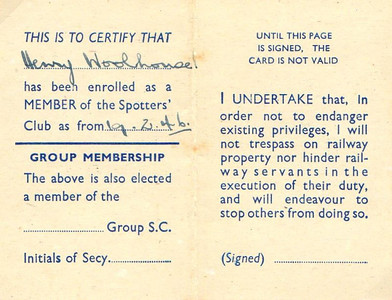 Ian Allan Locospotters Club membership card from 1946 (inside).