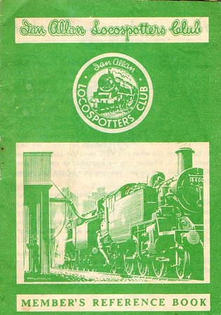 1959-mid 60s Ian Allan Locospotters Club Reference Book in SR green, number of pages now reduced back to 16. Cover drawing by A N Wolstenholme of a BR Standard Class 3MT 84xxx 2-6-2T.