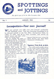 Spottings and Jottings No.1, August 1948, published August 1948, 4pp including covers, 1d, code: 41a/195/140\848, folded paper leaflet. (See notes for following photo).