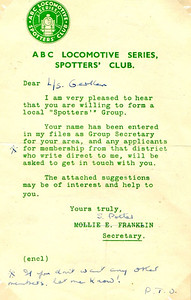 An early letter on headed notepaper from the secretary S Potter (changed from Mollie Franklin) concerning the setting-up of a local branch of the Locospotters Club.