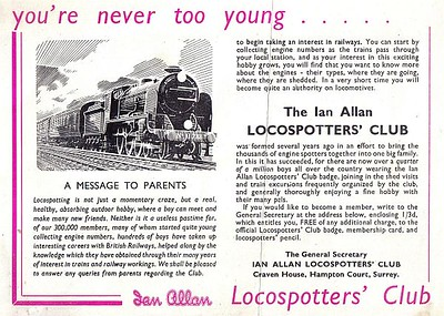 1959 full page advertisement for the Ian Allan Locospotters' Club from the Famous Trains Colour Book.