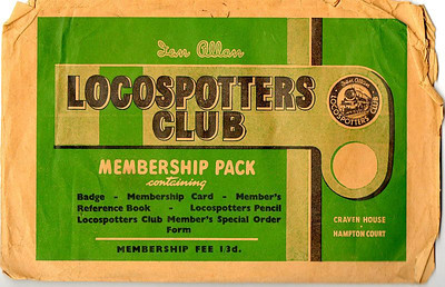Ian Allan Locospotters Club membership pack envelope c.1954; this was what you got for the princely sum of 1/3d. The envelope lists all of the contents contained within, and the then cost of annual membership. There can't be many of these still around, most would have been discarded once the contents had been extracted; this example, owned by John Debens, is complete with everything listed on the envelope.