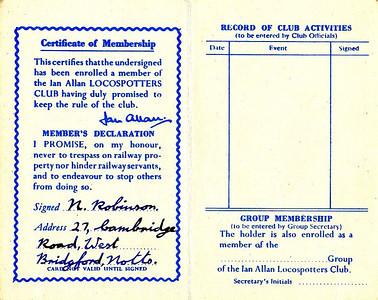 Ian Allan Locospotters Club membership card No.363614, from about 1955 (inside).