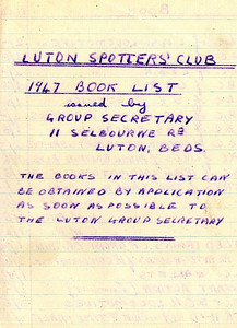 Handwritten Ian Allan booklist from 1947, as issued individually to members of the Luton branch of the Ian Allan Locospotters Club.