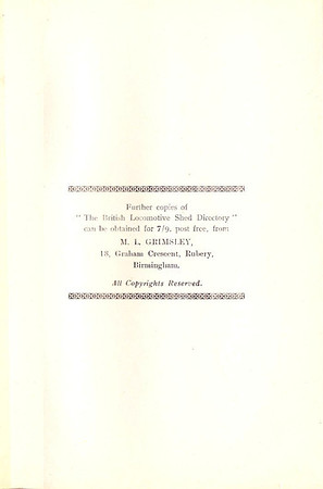 1947 The British Locomotive Shed Directory, 1st edition, details for obtaining further copies from R S Grimsley.