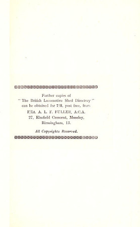 1947 The British Locomotive Shed Directory, 1st edition, details for obtaining further copies from Aidan L F Fuller.