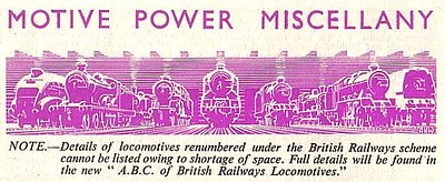 'Motive POwer Miscellany' column header, Trains Illustrated No.11 from October 1948.