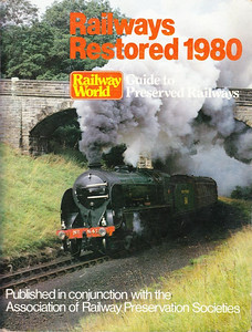 "1980 Railways Restored, 1st edition, published 1980, 96pp £1.95, ISBN 0-7110-1033-1, no code. Cover photo of SR 'S15' Class 4-6-0 841 ""Greene King"" (BR 30841) on the North Yorkshire Moors Railway in September 1979."