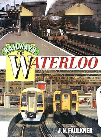 "1994 Railways of Waterloo, by J N Faulkner, published 1994, 96pp £9.99, ISBN 0-7110-2237-2, no code. Softback cover featuring photos of modified Bulleid 'Merchant Navy' Class 4-6-2 35014 ""Nederland Line"", and SWT Class 159 3-car DMU 159 003 with Class 421 (4-CIG) 4-car EMU 1316. 9.25 in x 6.75 in."