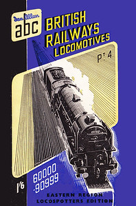 "Summer 1950 P4 - British Railways Locomotives - Eastern, North Eastern, & Scottish Regions, Spotters Edition, published January 1950, 64pp 1/6, no code. Cover drawing by A N Wolstenholme of A1 Class Pacific 60139 ""Sea Eagle"". Exists in two forms, the first has the printers' name blocked out, and new printers' name below; the second has just the new printers' name; both are very rare, particularly the first variant (see following two photos). Other than the cover text at the bottom, the Spotters Edition is also distinguishable by the white line from the right-hand track downwards. There was a theory that this Spotters Edition was the result of excess printings of the E/NER book with photo pages removed to utilize excess stock, but this book was published in January 1950, and the regular E/NER wasn't published until April...."