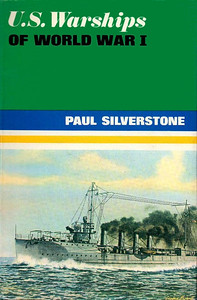 "1969 US Warships of World War I, Combined Volume, by Paul H Silverstone, published August 1969, 304pp 50s/£2.50, SBN 7110-0095-6, code: 642/EXX/869. Hardback with dust cover, painting of destroyer USS ""Preston""."